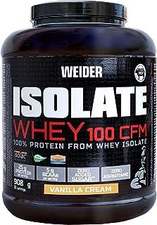 Weider Isolate Whey 100CFM 908gr Sabor Vainilla. 100% aislado de proteina de suero. Cero azúcar, cero aspartamo, con stevia, con dygezime, con BCAA, apto para veganos. Isolac. Para dietas keto.