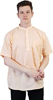 Kaddy Men's Pure Cotton Half Sleeve Straight Short Kurta Peach