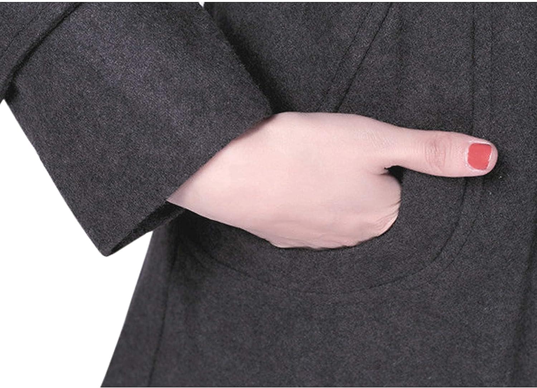 ZOMIHOYANG Women's elegant hooded Lapel double row buckle wool blended pea coat with belt