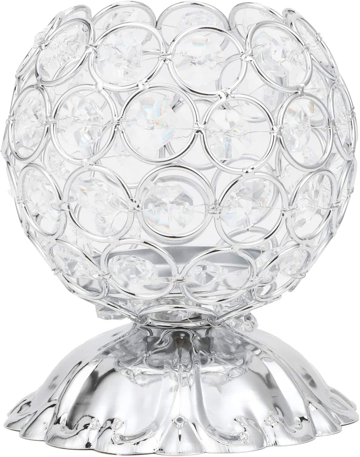 SanZHONGsd Silver Crystal Candle Holder Cand electroplated Inventory NEW cleanup selling sale Iron