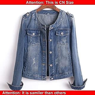 Plus Size Round Collar Jeans Jacket 4XL 5XL Sweet Women Light Blue Bomber Short Denim Jackets Long Sleeve