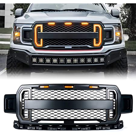 Matte Black ABS Includes Amber /& Side LED Lights by AutoModed Raptor Style Grille Bumper Replacement Grill AutoModed For 2018 2019 Ford F150