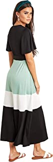 Color Block Short Sleeves T-shirt Maxi Women's Dress with Tie-Belt Waist