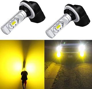 Alla Lighting 3800lm 889 881 LED Fog Light Bulbs Xtreme Super Bright 898 881 LED Bulb ETI 56-SMD LED 881 Bulb for Auto Motorcycle Cars Trucks SUVs Fog DRL Lights, 3000K Amber Yellow (Set of 2)