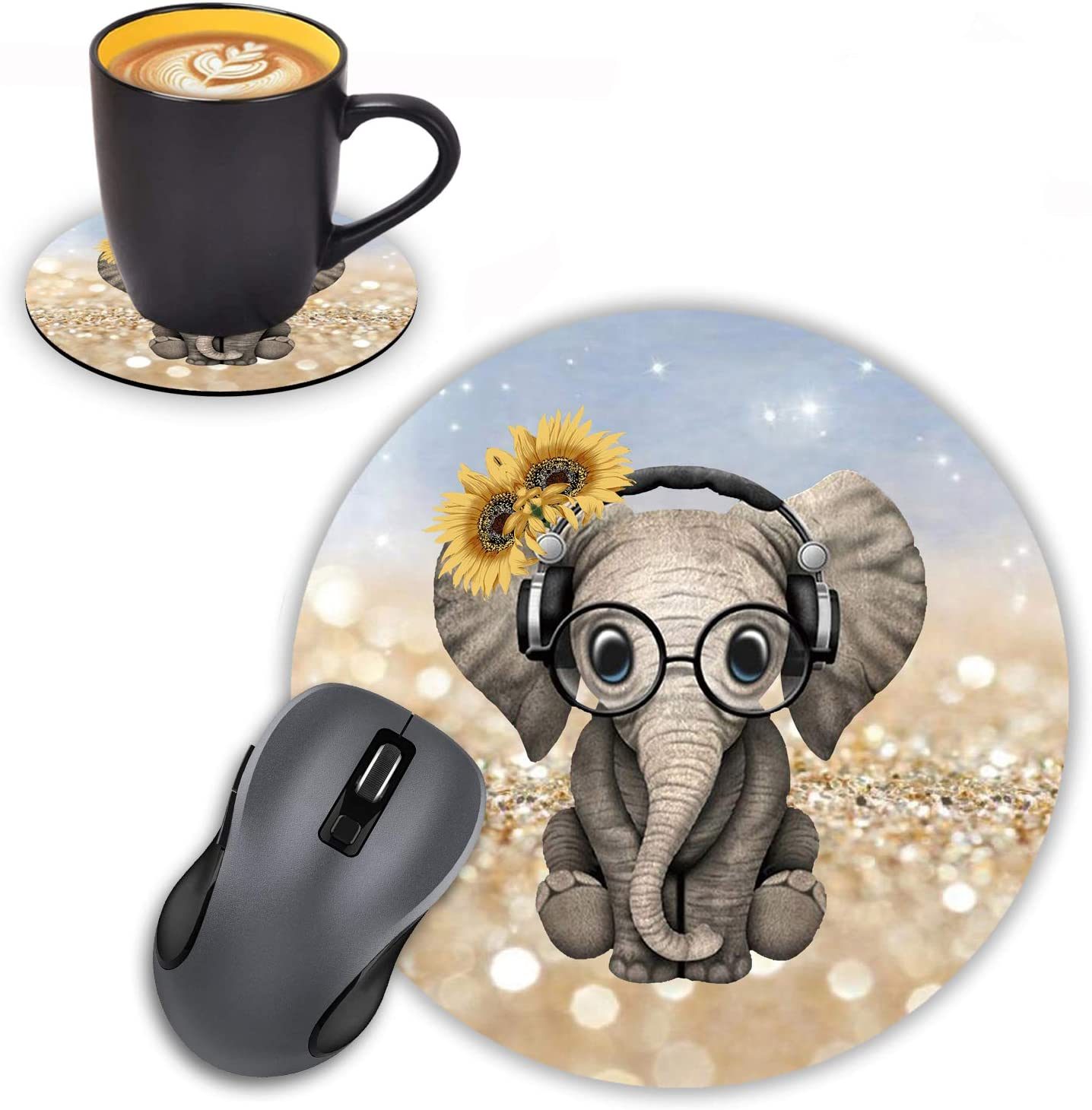 supreme Round Mouse Pad with Coasters Set excellence Sunflower Hea Glitter Rainbow