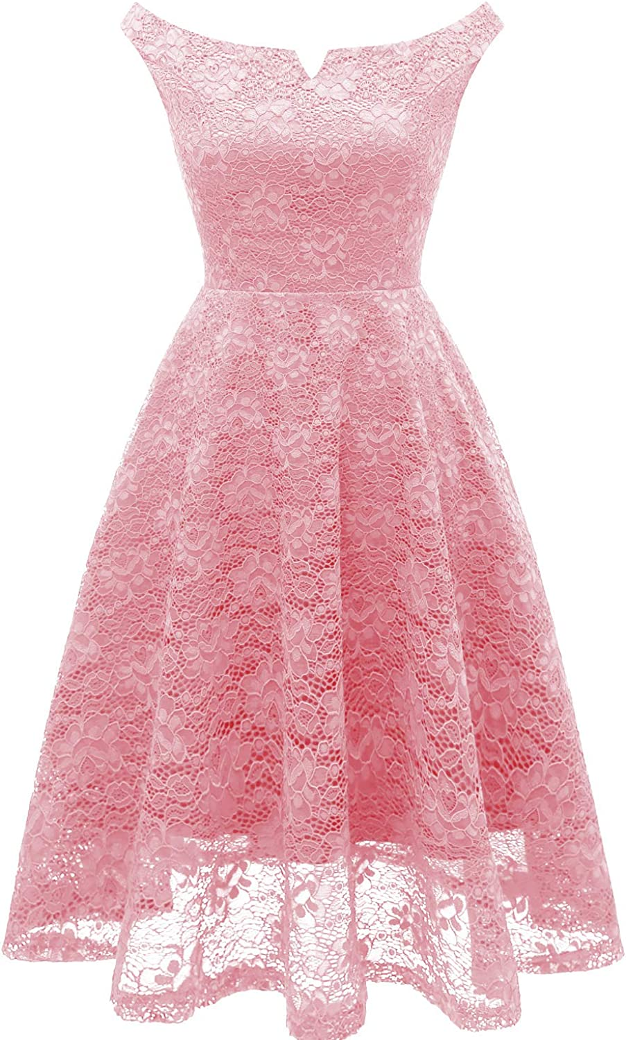 EvoLand Womens Off The Shoulder Lace Bridesmaid Cocktail Party Dress