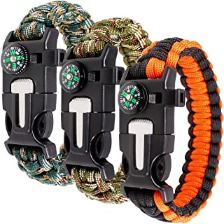 maxin Paracord Bracelet Kit Set of 3 for Outdoor Survival, 9 INCH Survival Gear Kit with Embedded Compass, Fire Starter, Emergency Knife & Whistle.