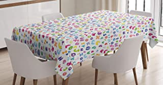 Ambesonne ABC Tablecloth, Cute Colorful Alphabet ABC Bubble Letters Doodle Style Fun Childish Nursery Design, Dining Room Kitchen Rectangular Table Cover, 60