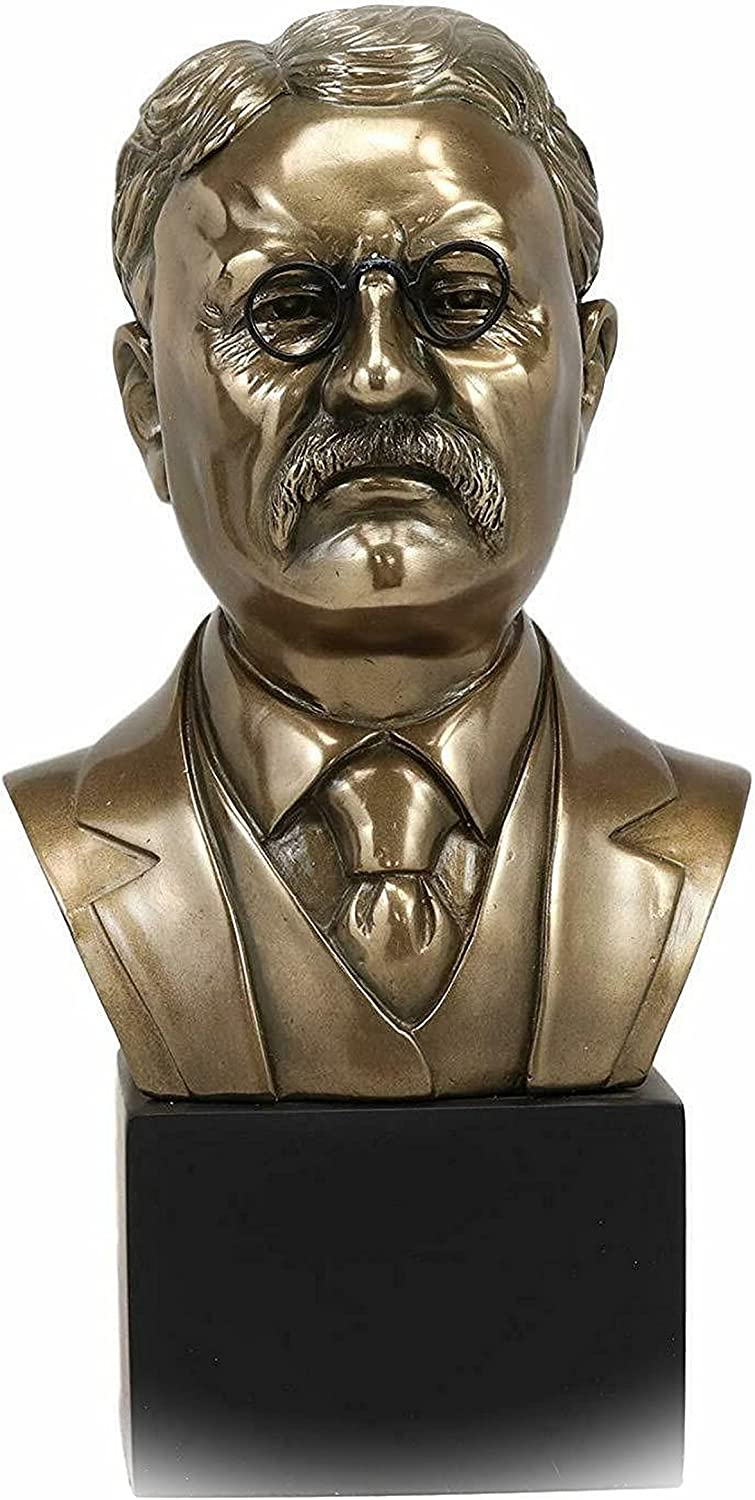 New Bronzed Resin USA Reservation President Roosevelt Opening large release sale Bust Figurine Theodore