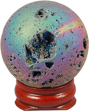 TUMBEELLUWA Druzy Agate Geode Gemstone Titanium Coated Aura Quartz Healing Crystal with Wood Stand,Sphere Ball Shape,Rainbow