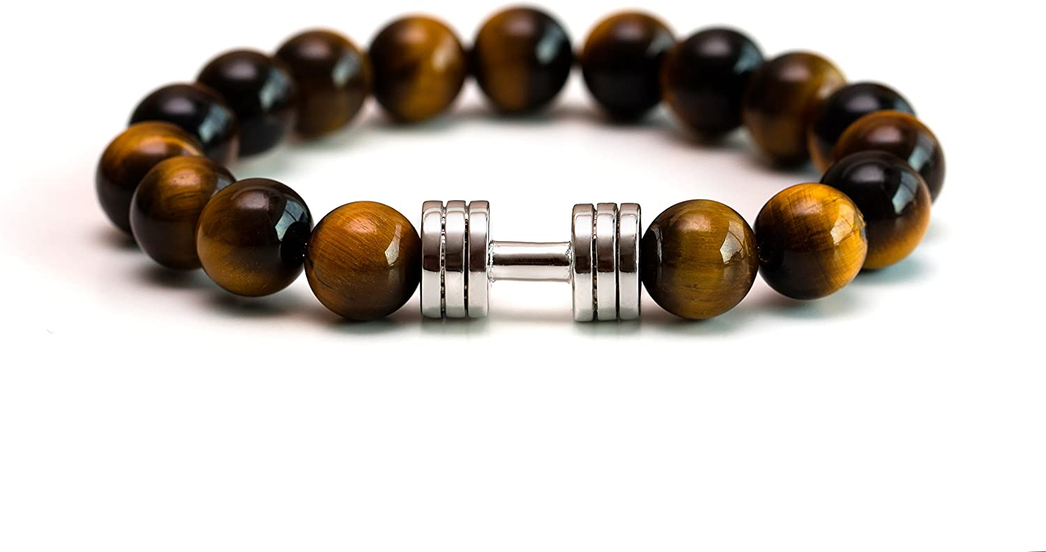 Tiger Eye Dumbbell Bracelet Rhodium B Super-cheap Plated Fitness Seattle Mall Jewelry Gym