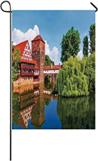 C COABALLA Landscape Utility Garden Flag,Scenic Summer German Traditional Medieval Half Timbered Bridge River Town for Home,40