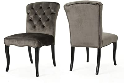 Christopher Knight Home Hallie Traditional Armless Tufted Velvet Armless Dining Chairs, 2-Pcs Set, Grey / Dark Brown