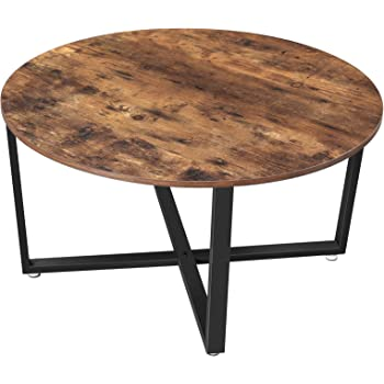 VASAGLE ALINRU Round Coffee Table, Industrial Style Cocktail Table, Durable Metal Frame, Easy to Assemble, for Living Room, Rustic Brown ULCT88X