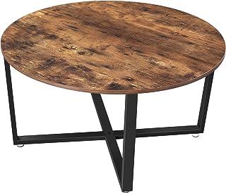 VASAGLE Table Basse Ronde, Table de Salon, Style Industriel, Cadre en Acier, Montage Facile, pour Salon, Chambre, Marron R...