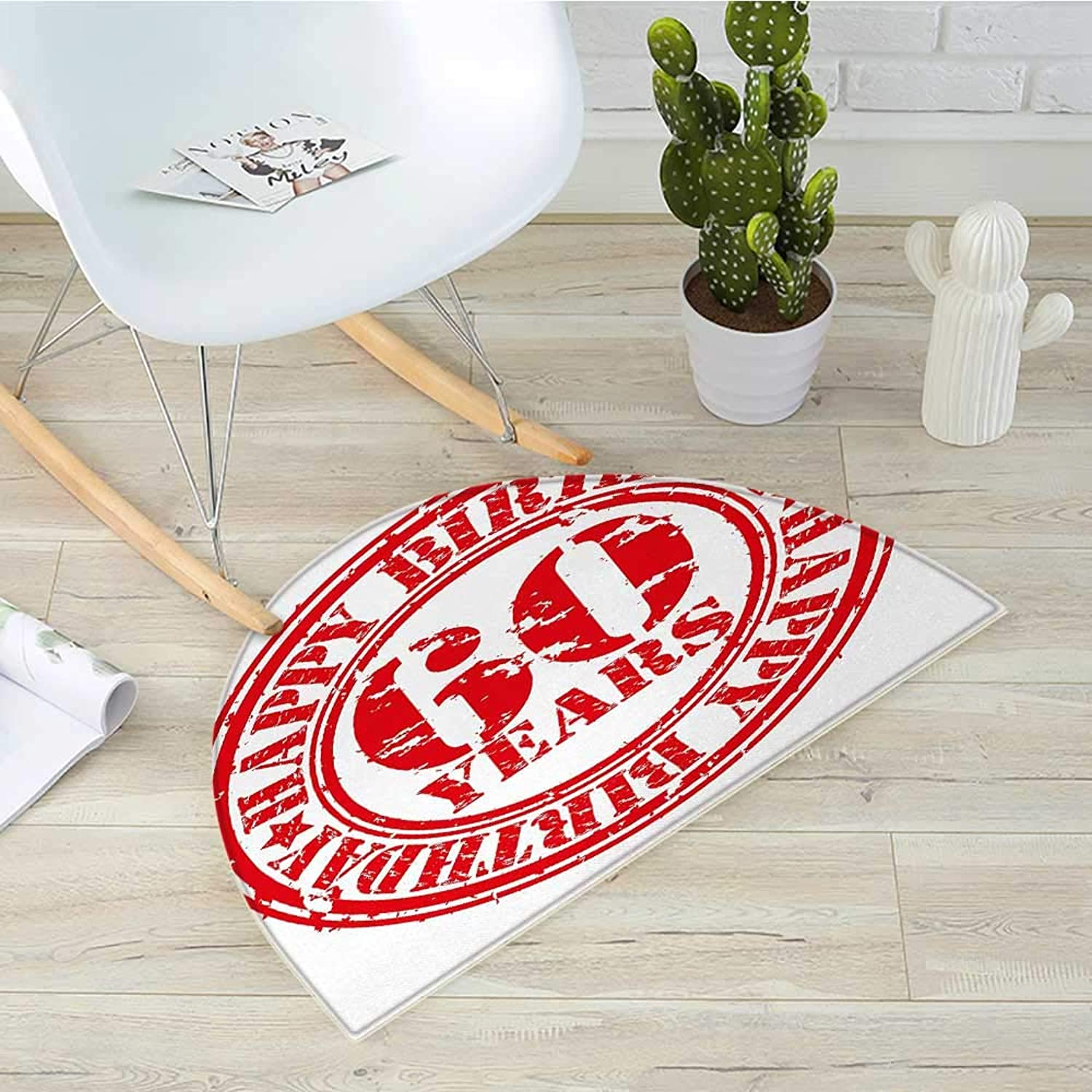 60th Birthday Semicircular CushionAbstract Grunge Style Happy Sixty Party Theme Retro Stamp Slogan Print Entry Door Mat H 31.5  xD 47.2  Red and White