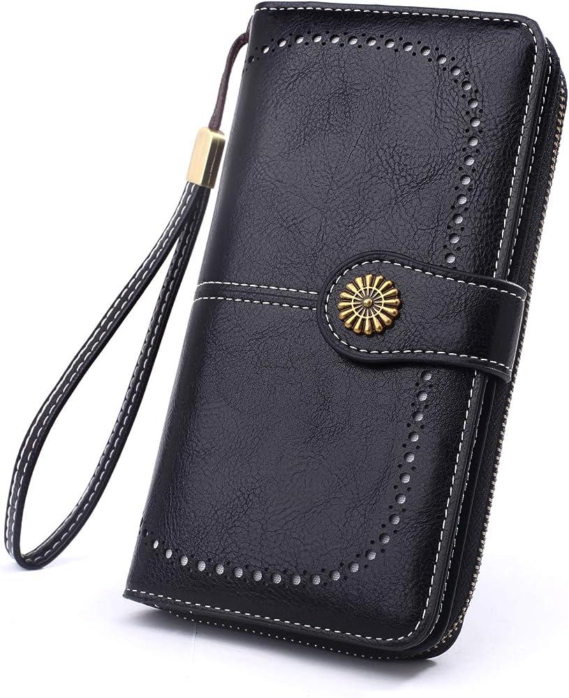 y yongyuan portafoglio porta carte di credito per donna in ecopelle classico nero2