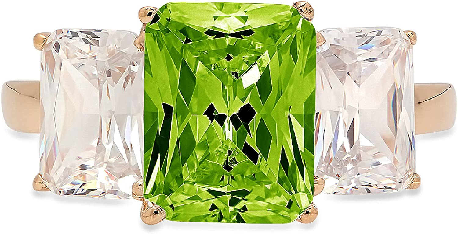 4.0ct Brilliant Emerald Cut 3 Stone Solitaire Accent Genuine Flawless Natural Green Peridot Gemstone Engagement Promise Anniversary Bridal Wedding Ring Solid 18K yellow Gold