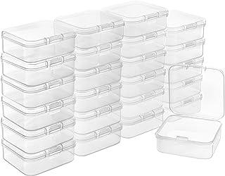 BELLE VOUS Caja Plastico Almacenaje Transparente con Tapa de Bisagra (Pack de 24) 5,3 x 5,3 x 1,7 cm – Caja Organizadora P...