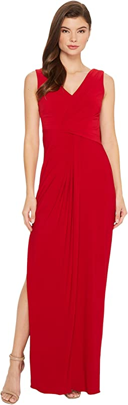 Adrianna Papell - V-Neck Draped Jersey Gown