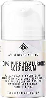 ASDM Beverly Hills 100% Pure Hyaluronic Acid Serum 2oz 30ml, Anti-Aging Intense Hydration Tightening Face Firming Serum, Vegan Nasha Grade, Wrinkle Remover, Improve Skin Elasticity Collagen Production
