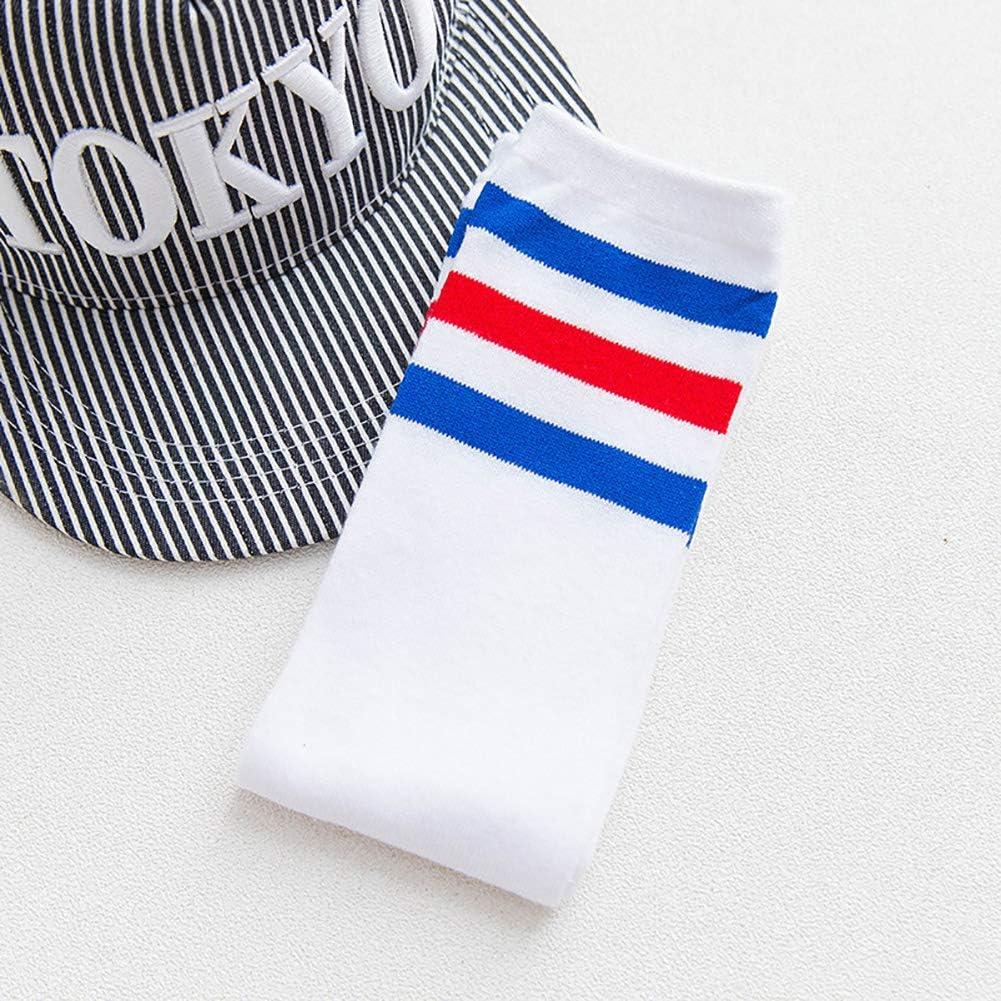Toddlers Soccer Socks,Knee High Striped Athletic Sport Cushion Socks,Knee High Long Socks for Kids 0-4 Years Old