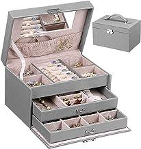 ANWBROAD 24 Section Jewelry Box Jewelry Organizer Box Display Storage Case Holder with Lock Mirror Girls Jewelry Box for E...