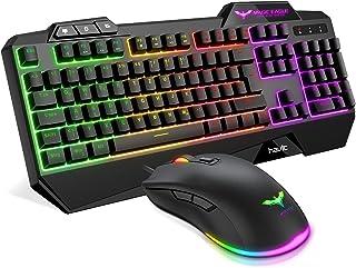 havit Gaming Tastatur und Maus Set, Gaming Tastatur mit LED Hintergrundbeleuchtung QWERTZ (DE-Layout), Wired Gaming Maus m...