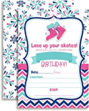 Winter Ice Skating Birthday Party Invitations for Girls, 20 5