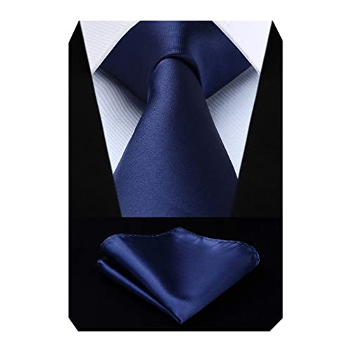 a3ebc3f8ca0d6 HISDERN Men's Solid Color Tie Handkerchief Wedding Party Classic Necktie & Pocket  Square Set-Multiple