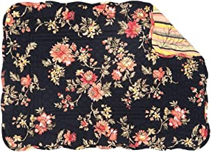 6 Piece Black Red Multi Blossom Floral Pattern Placemats Set, Beautiful Flowers Design, Elegant Handcrafted Scallop Design Borders Rectangle Shape Place Mats, Features Machine Wash, Easy Clean, Cotton
