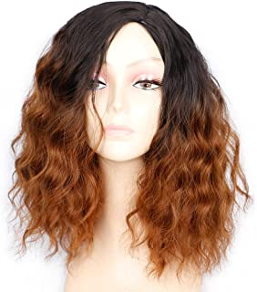 1b/30 Ombre Brown Short Wavy Bob Wig 2 Tones Synthetic Wigs Black to Brown Medium Length Curly Wigs For Women Daily Party Wig