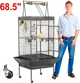 YAHEETECH 61/69 inch Playtop Wrought Iron Large Parrot Bird Cages with Rolling Stand for..