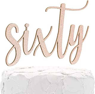 NANASUKO 60th Birthday Cake Topper - sixty - Double Sided Rose Gold glitter - Premium quality Made in USA