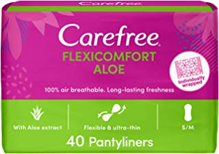 CAREFREE Daily Panty Liners, FlexiComfort, Aloe, Pack of 40