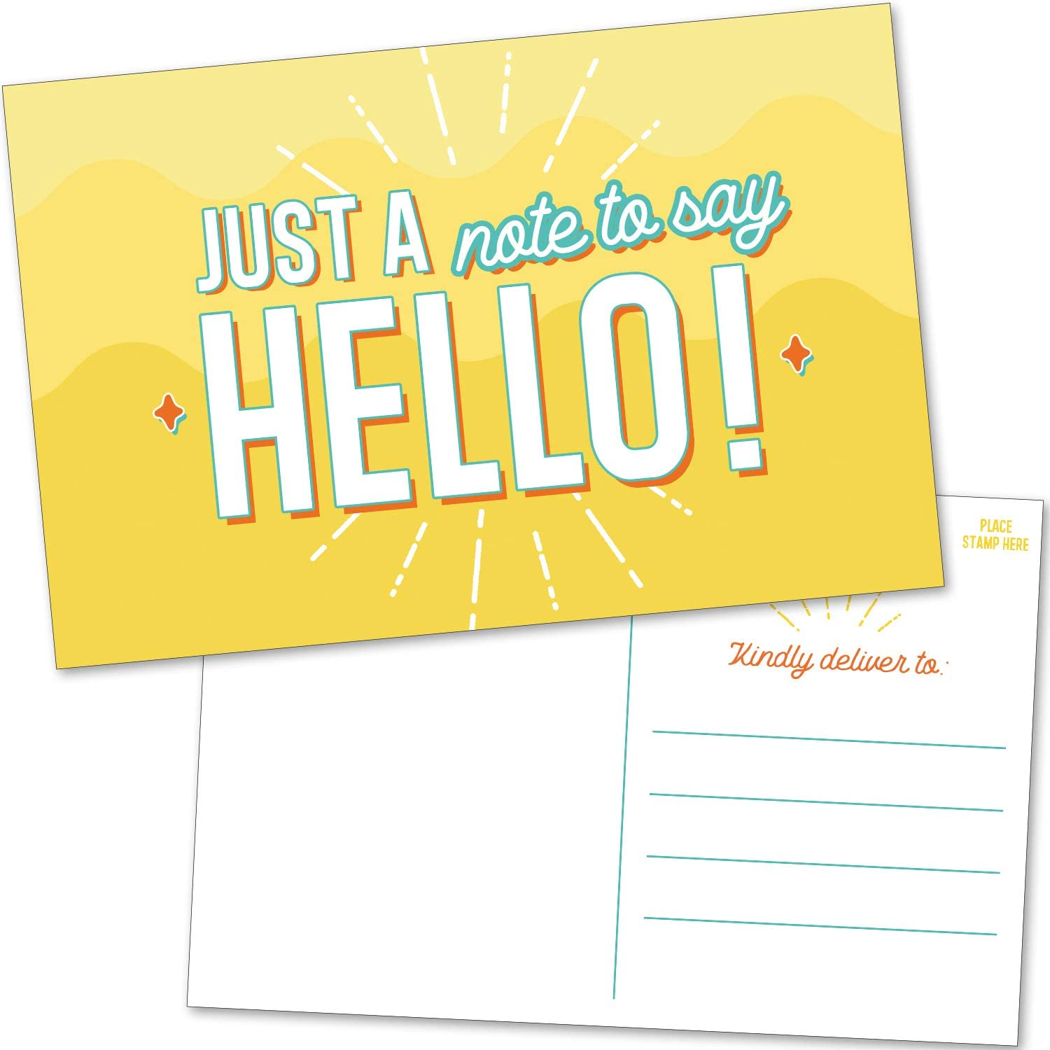 50 Blank Bulk Hello Postcards Cheap mail order shopping - 2021 Fun Just and Positive Colorful