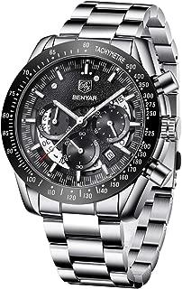BENYAR Mens Watch Fashion Chronograph Quartz Movement 22mm Stainless Steel Waterproof 30M Elegant Gift