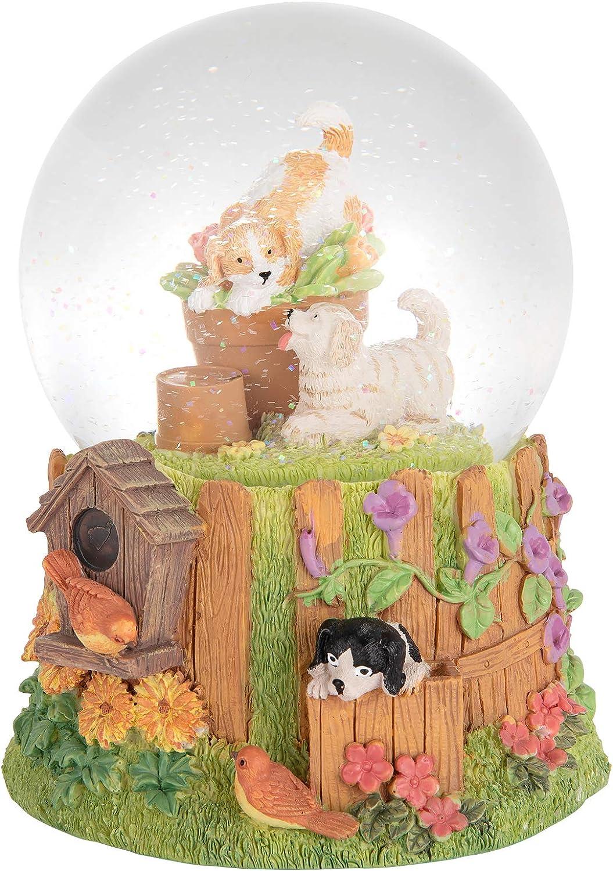 "Septwonder Pet Life Dog Snow Globe Puppy Garden Fun Snow Globe Golden Retriever Shepherd Dog and Cuckoo Snow Globe Collectible Handmade Mechanical Snowglobe Plays Music Castle in The Sky 6""H 4""W"
