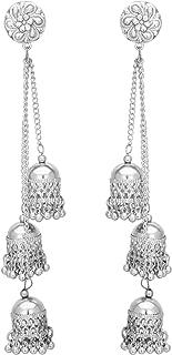 Jwellmart Afghani Bohemian Kashmiri Style Oxidized Silver Drop Dangle Bali Jhumka Indian Long Earrings for Women and Girls
