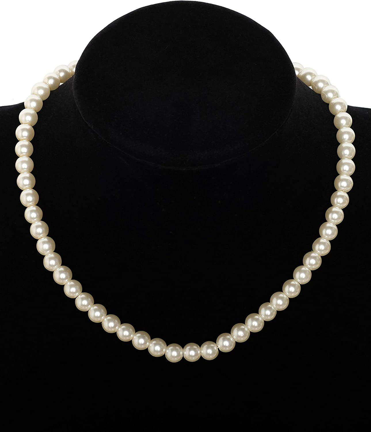 Zivyes Faux Pearl Necklace Pearl Choker Necklace Pearl Necklace Strand 1920s Flapper Beads for Gatsby Costume