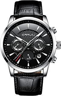 Men Watches Fashion Business Casual Dress Quartz Wristwatches Chronograph Leather Strap with Date Calendar