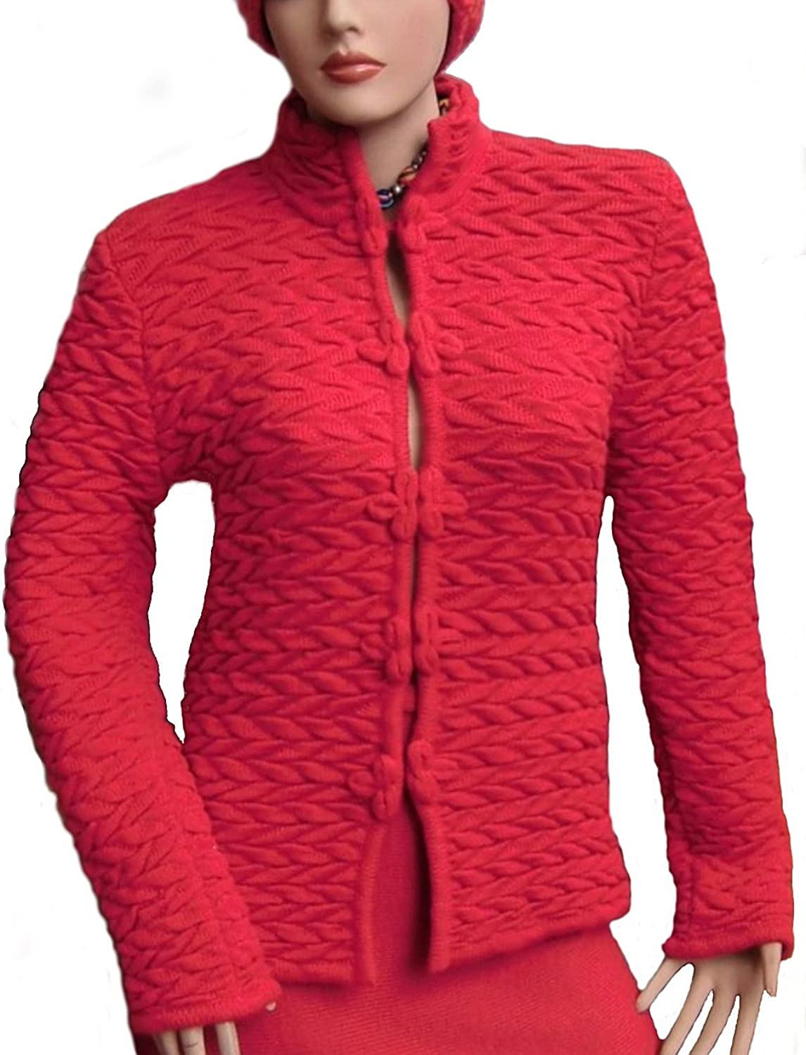 Alpakaandmore Women Cardigan Leaves Design Alpaca Wool Jacket Red