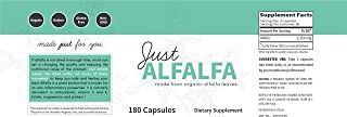 Just Alfalfa Non-GMO Alfalfa Without Stems, Seeds, or Sprouts (180 Capsules)