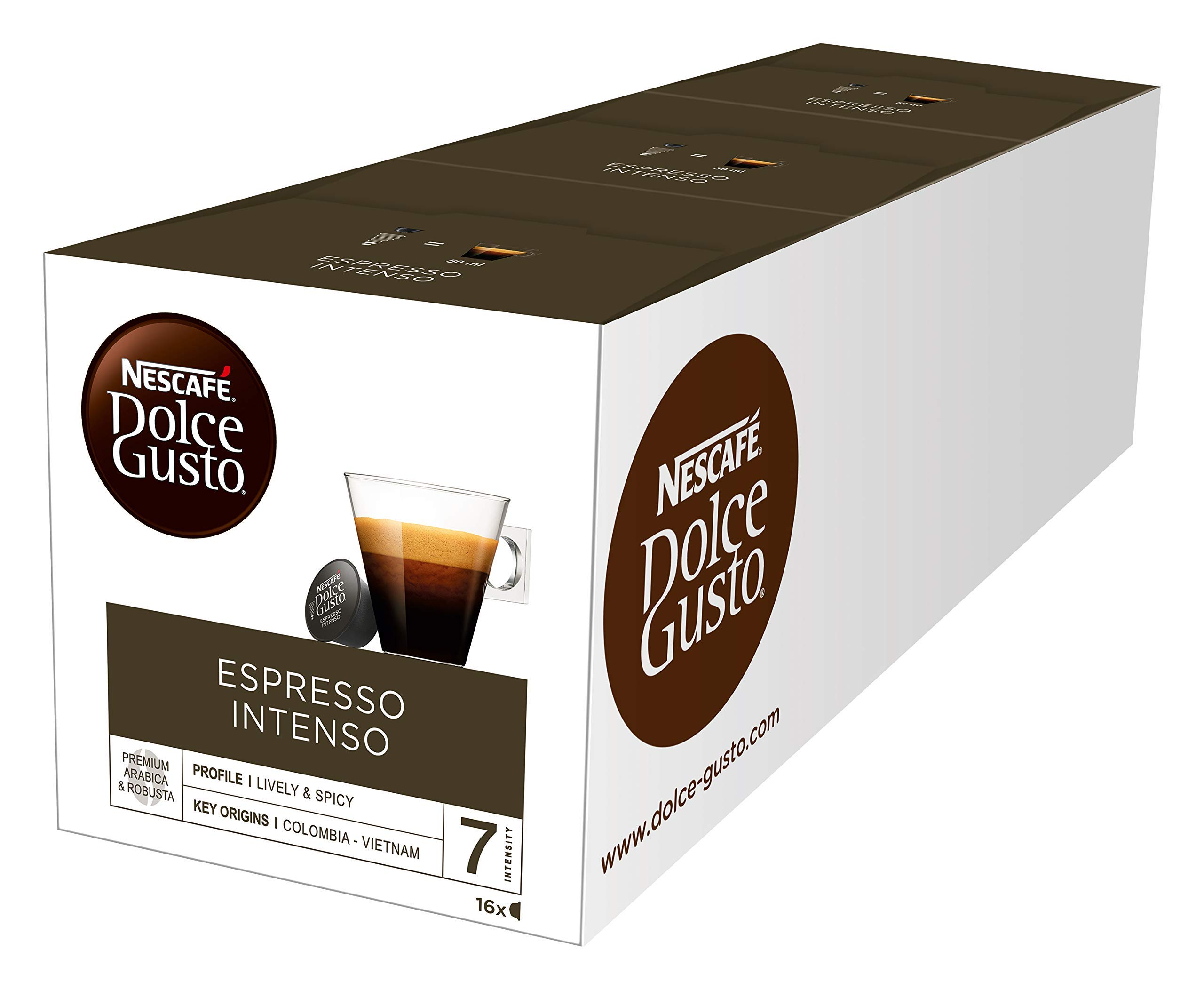 NESCAFÉ Dolce Gusto Espresso Intenso Coffee Pods, 16 capsules (48 Servings, Pack of 3, Total 48 Capsules)