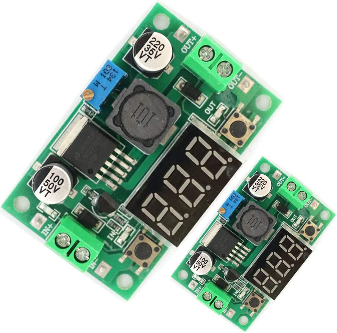 2pcs LM2596 DC to DC Voltage Regulator 4-40V to 1.5-35V 2A Buck Converter with LED Display