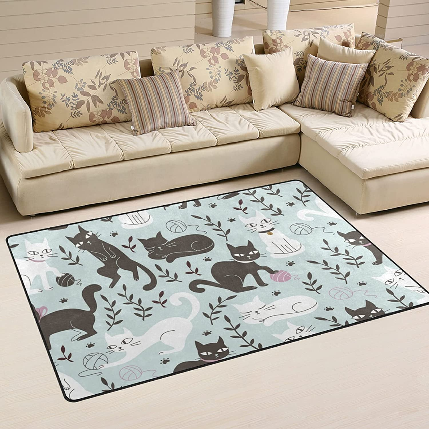 Cats in Doodle Style Large Soft Rugs Max 86% OFF Nursery Playmat Rug Ma Popular standard Area