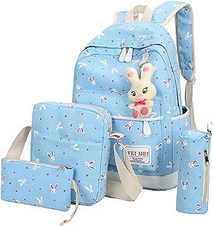 4 Pcs Teen Girls Cute Lightweight Canvas Backpack Set Rabbit Bookbag Laptop School Backpack Shoulder Bag Handbag