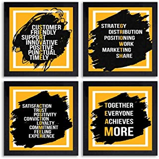 PnF® Set of 4 Motivational QUOTES-038-(28x28inch,Synthetic,Multicolour)