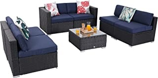 PHI VILLA 7-Piece Patio Furniture Set Outdoor Rattan Sectional Sofa with Seat Cushions, Blue
