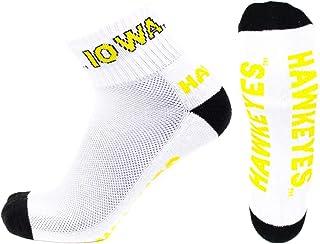 جوارب NCAA Iowa Hawkeyes للرجال كعب اصبع القدم، أبيض/ذهبي/ذهبي